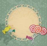 与糖果设计元素的礼品券。传染媒介 免版税库存图片
