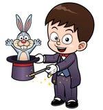 男孩魔术师动画片 免版税库存照片