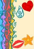 Поздравительная открытка пляжа границы радуги Стоковая Фотография RF