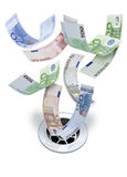 在流失下的欧元金钱 库存图片