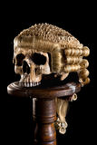 有法官的假发的头骨 库存图片