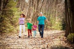 跑在森林的愉快的家庭 免版税图库摄影