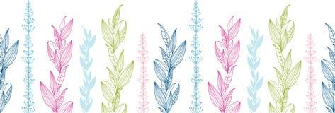 花卉条纹水平的无缝的样式 免版税库存图片