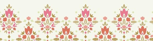 花卉锦缎水平的无缝的样式 免版税库存照片
