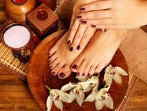 在温泉沙龙的女性脚在修脚做法 库存图片