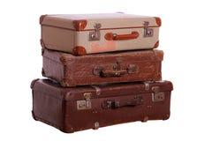 堆年迈的手提箱 库存照片