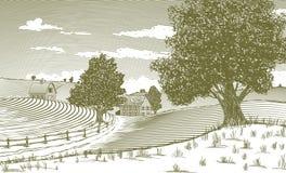 Αγροτική σκηνή ξυλογραφιών Στοκ Εικόνα