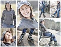 滑冰在公园的快乐的溜冰鞋少妇 免版税库存图片