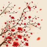 东方样式绘画,李子开花在春天 免版税库存照片