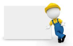 工作作为水管工的白人站立在白色标志附近 库存照片