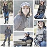 自然看的女孩滑旱冰在公园 库存图片
