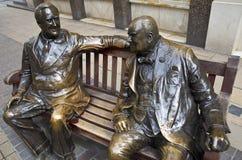 富兰克林・德拉诺・罗斯福&温斯顿・丘吉尔雕象我 库存照片