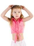 惊奇的逗人喜爱的小女孩画象被隔绝 免版税图库摄影