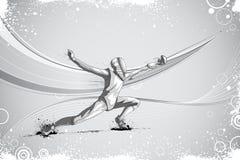 Фехтовальщик атакуя с фольгой рапиры Стоковое Фото