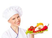 愉快的微笑的餐馆厨师 免版税库存照片
