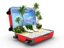 打开行李,假期概念 免版税库存图片