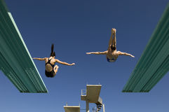 潜水从跳板的两名妇女 库存照片