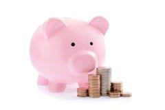 桃红色存钱罐和堆金钱硬币 免版税库存照片