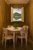 Комната шахмат-и-карточки берега озера Стоковые Фото