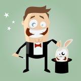 有兔宝宝的动画片魔术师在他的高顶丝质礼帽 库存照片