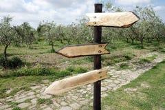 交叉路木定向箭头标志 免版税图库摄影