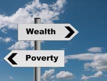 签字在路对财富和贫穷-经济隐喻 库存图片