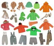 温暖的儿童的衣物的汇集 图库摄影