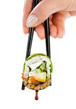 在白色背景的寿司卷 免版税库存照片