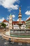 主要城市广场在老镇在布拉索夫,斯洛伐克 免版税图库摄影