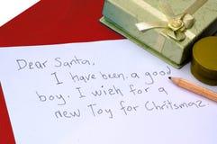 亲爱的信函圣诞老人 免版税库存照片