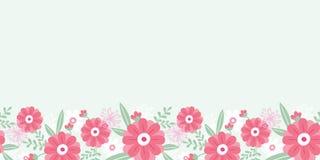 牡丹花和叶子水平无缝 库存照片