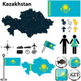 哈萨克斯坦地图  免版税库存图片