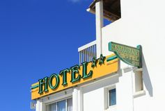旅馆和餐馆标志 免版税库存照片