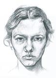 铅笔得出的少妇艺术性的画象例证 免版税图库摄影