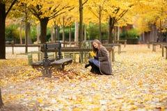 女孩汇聚叶子在公园 库存图片