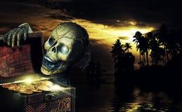 Пиратствуйте раскрывать комод вполне золотых монеток Стоковая Фотография