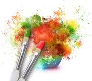 绘在彩虹苹果计算机的泼溅物 库存图片