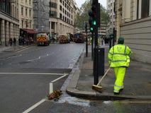 伦敦道路清扫工城市 免版税库存照片