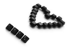 爱标志和心脏由键盘键做成 免版税库存图片