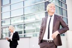 Таблетка человека бизнес-леди цифровая Стоковое Изображение RF