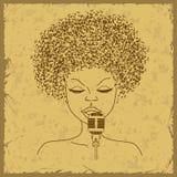 歌手与音符头发的面孔剪影 免版税库存照片
