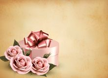 Αναδρομικό υπόβαθρο διακοπών με τα ρόδινα τριαντάφυλλα και το δώρο  Στοκ εικόνες με δικαίωμα ελεύθερης χρήσης