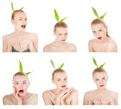 情感拼贴画。执行各种各样的表示的女孩与她的面孔。 库存照片