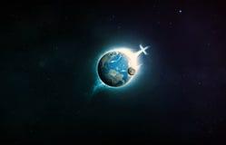 Христианский крест на земле планеты. Стоковая Фотография