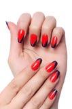 Принципиальная схема искусства ногтя с руками Стоковое Фото