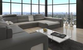 令人敬畏的现代顶楼客厅|建筑学内部 免版税库存照片