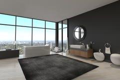 专属豪华卫生间内部在一个现代顶楼房屋 库存照片