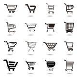 καθορισμένη συλλογή των διανυσματικών εικονιδίων κάρρων αγορών Στοκ εικόνα με δικαίωμα ελεύθερης χρήσης