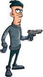 Κακοποιός κινούμενων σχεδίων που κρατά ένα πυροβόλο όπλο Στοκ εικόνα με δικαίωμα ελεύθερης χρήσης