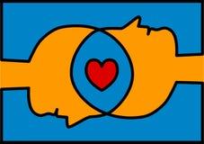 Соединенные головы деля сердце влюбленности Стоковые Фото